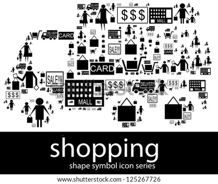 Shopping icon symbols composed in the shape of delivery van