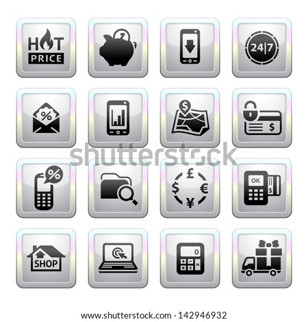 Shopping Icons. Gray. Web 2.0 icons. Vector version (eps) also available in gallery - stock photo