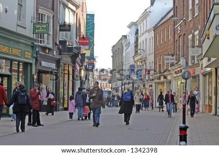 Shopping in York UK - stock photo