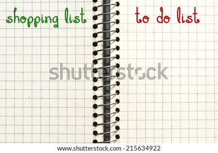 Shopping list and to do list. Check list or reminder concept. - stock photo