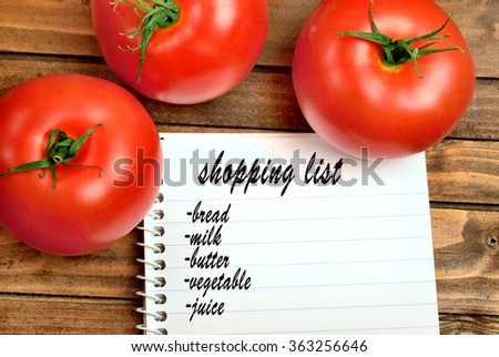 Shopping list words on notebook
