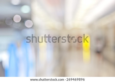 shopping mall blur background with bokeh - stock photo