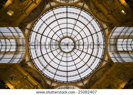 Shopping mall roof in Milan, Italy - stock photo