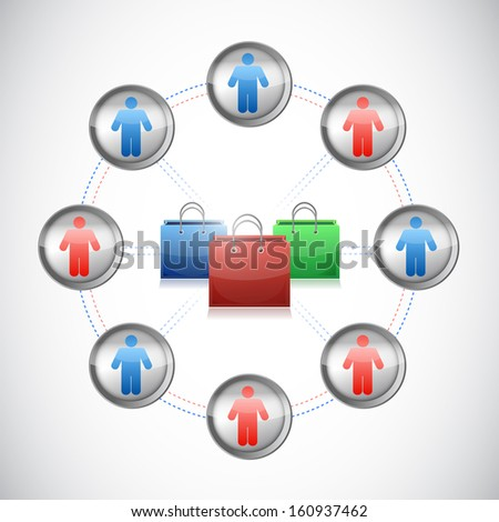 shopping network. shopping bags and people. illustration design over white - stock photo