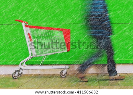 Shopping on a rainy day, motion blur man walking by empty cart trolley in front of a supermarket. - stock photo