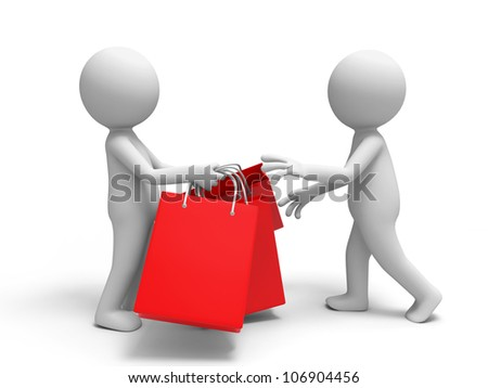 Shopping/one passed some shopping bags to the other. - stock photo