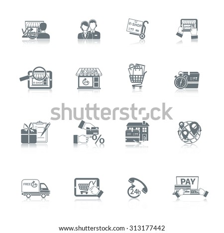 Shopping online e-commerce express delivery icon black set isolated  illustration