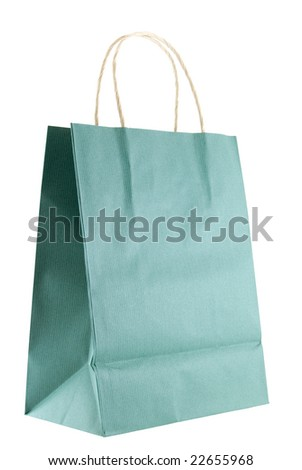 Shopping or gift bag isolated on white background - stock photo