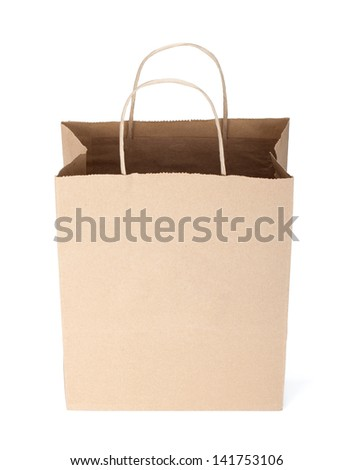 Shopping paper bag. Isolated on white background - stock photo