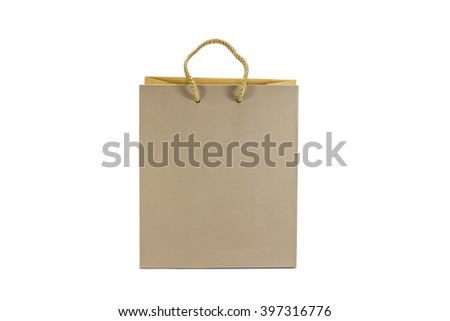 Shopping paper bag on a white background .