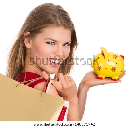 Shopping piggy bank woman, isolated on white background. Lucky female saving money on purchase.   - stock photo
