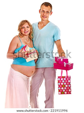 Shopping pregnant woman, holding gift box with man.