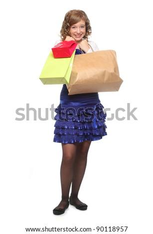 Shopping pretty girl - studio shot on a white background. - stock photo