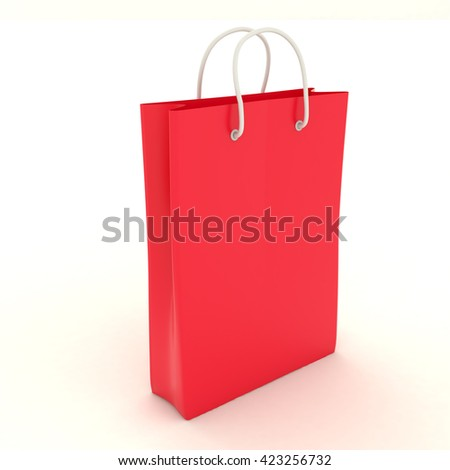 Shopping red paper bag template with clean blank. Single cardboard package with rope handles mock up isolated on white background. Packing for shopping, gifts, products in the store. 3d illustration