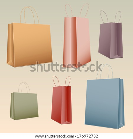 Shopping set colorful paper bag empty,raster version - stock photo