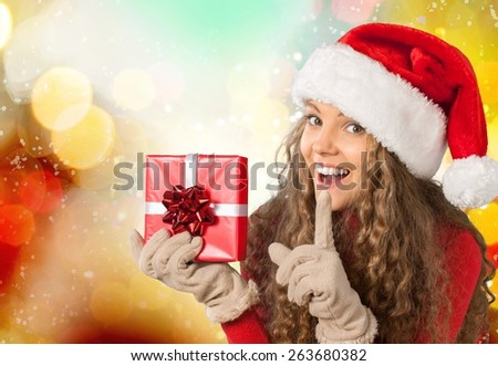 Shopping. Shopping, sale, gifts, christmas, x-mas concept - smiling woman in red dress with shopping bags - stock photo