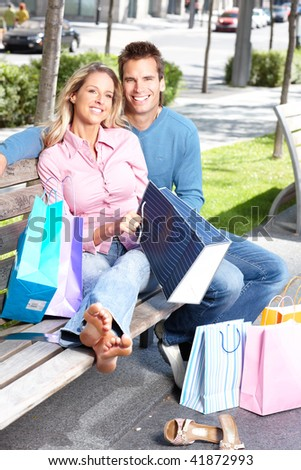 Shopping  smile couple on the street