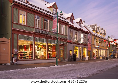 Shopping street in Tromso¸ in the new year. January 2012