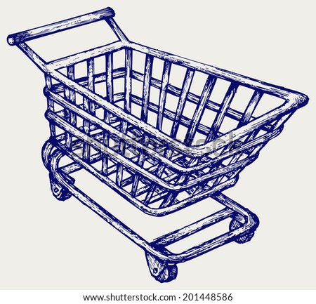 Shopping supermarket cart. Doodle style. Raster version - stock photo