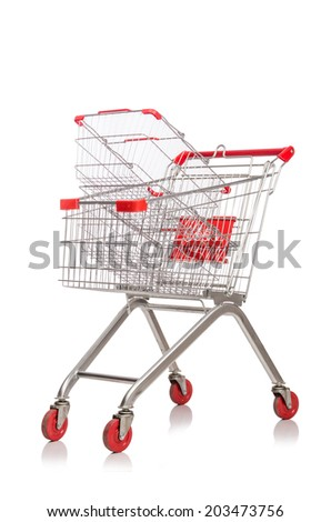 Shopping supermarket trolley isolated on the white
