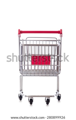Shopping supermarket trolley isolated on the white - stock photo