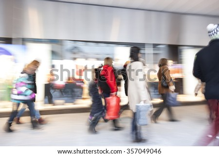 Shopping together, people walking - stock photo