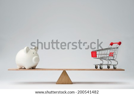 Shopping trolley and piggy bank balancing on a seesaw - stock photo