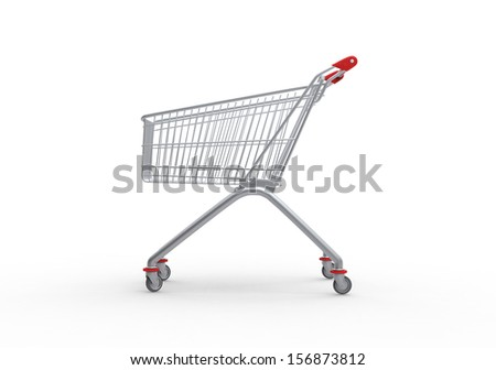 Shopping trolley, 3d render - stock photo