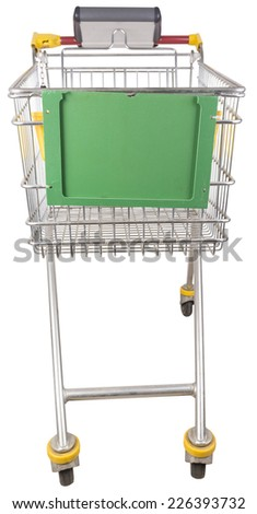 Shopping trolley isolated - stock photo