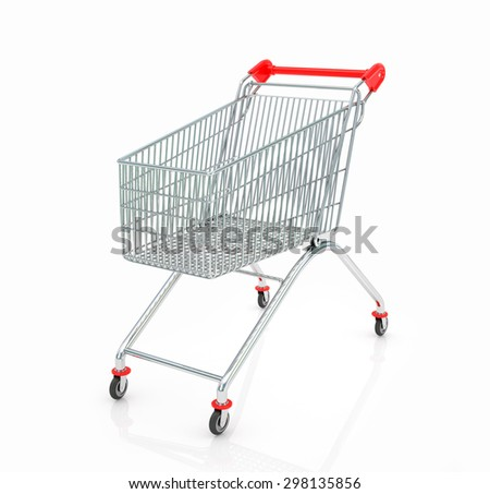 Shopping trolley isolated on white background - stock photo