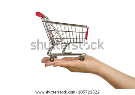 Shopping trolley on white