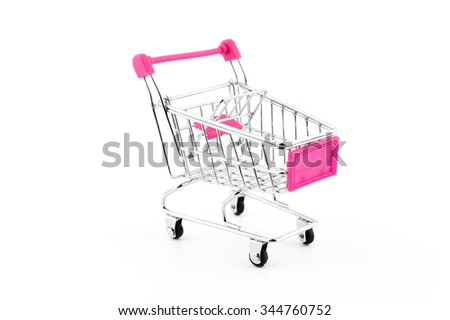 Shopping trolley. Shopping cart. Shopping trolley on muti collored background. - stock photo