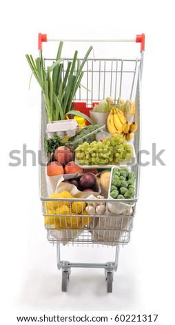 Shopping trolley viewed from head - a series of SHOPPING TROLLEY images. - stock photo