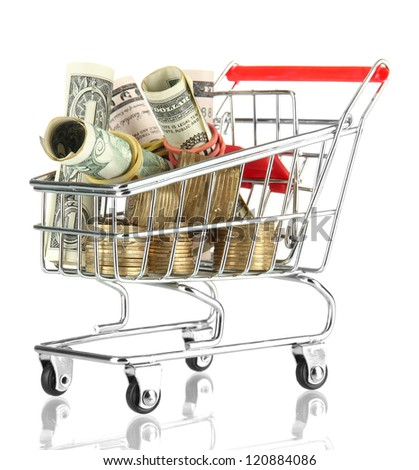 shopping trolley with dollars and Ukrainian coins, isolated on white - stock photo