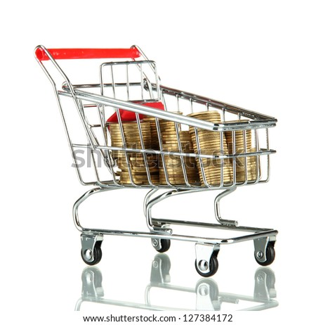 shopping trolley with Ukrainian coins, isolated on white - stock photo
