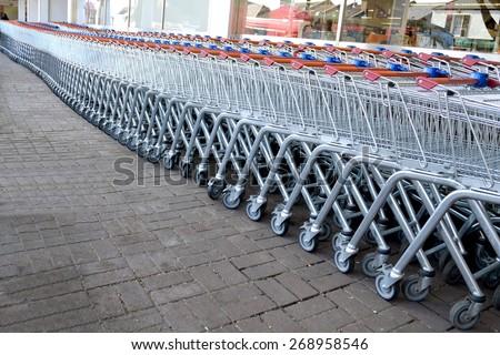 Shopping trolleys - stock photo