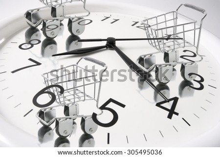 Shopping Trolleys on Wall Clock - stock photo