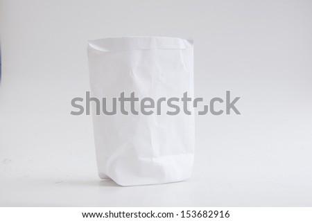 shopping white paper bag. - stock photo