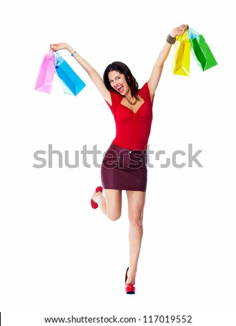 Shopping woman with bags isolated on white background. - stock photo