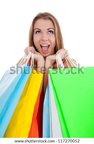 Shopping woman with color packages