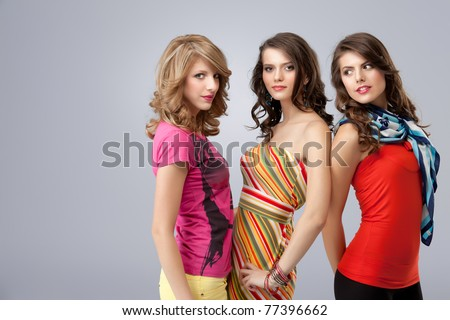 shopping women posing happy at camera - stock photo