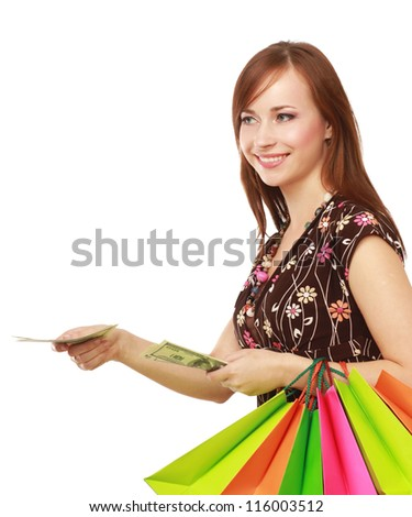 Shopping - young woman with bags and money