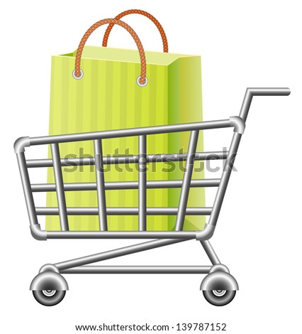 Shoppingcart and shopping bag. Raster version, vector file also included in the portfolio.