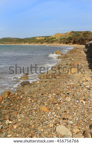 Shore at  Anzac Cove, Turkey the scene of one of the bloodiest campaigns of World War 1 in the Gallipoli Peninsula on the Aegean Sea - stock photo