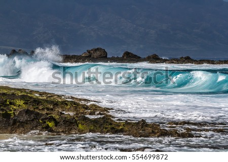 Shore break Ocean wave seascape, Haleiwa Oahu Hawaii