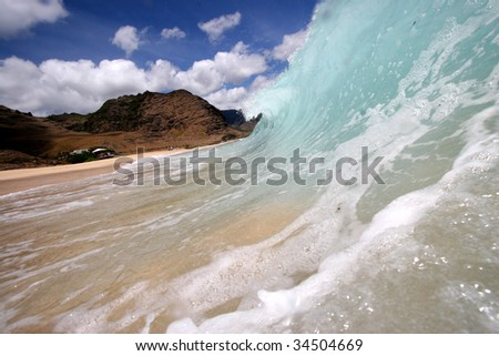 shore breaking wave - stock photo