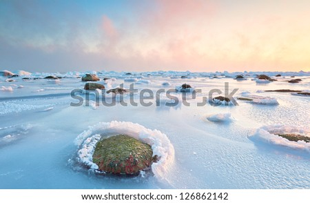 shore in winter - stock photo
