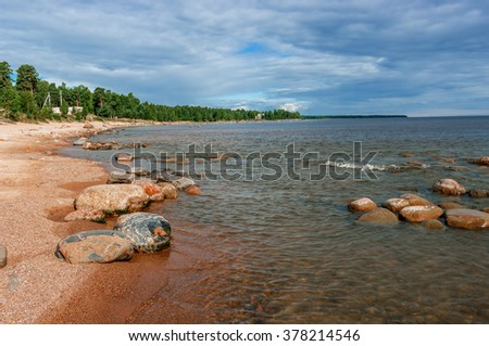 Shore of Lake Ladoga. Summer. Changeable weather. A popular tourist destination.
