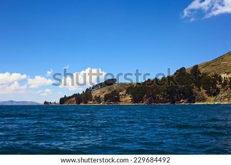 Shore of the Titicaca Lake at San Pedro de Tiquina in Bolivia - stock photo