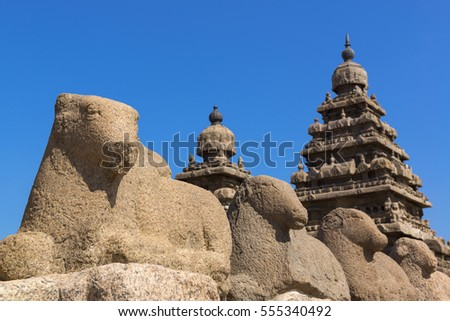 Shore temple, world heritage site in Mahabalipuram, Tamil Nadu, India